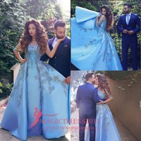 Wholesale Orange Sayings - 2016 Arabic Evening Prom Dresses Said Mhamad A-Line Blue Jewel Illusion Long Lace Sleeve Sweep Train Pleated Celebrity Pageant Party Gowns