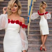 Wholesale Design Flower Evening Dress - Elegant Dresses Evening Wear Off Shoulder Long Sleeves Split Formal Gown Knee Length Appliqued Art Design Cocktail Dress