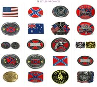 Wholesale novelty rebel flags - 28 styles Confederate Southern South Rebel Dixie Flag CSA Skull Army Big Belt Buckle Buckles High Quality