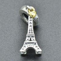 eiffel schmuck großhandel-Echte 100% 925 Sterling Silber Soild Eiffelturm Anhänger Charm Fit Europäischen Armband Authentische Luxus DIY Schmuck Geschenk
