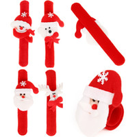 Wholesale Lighted Deer - 6 Designs Santa Claus Snowman Deer Bear Christmas Slap Wristhand Bracelet Christmas Decoration Without Led Light ELCD016