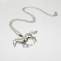 Wholesale Horses Sweater Women - New Fashion Horse Animal Pendant Necklace Gold silver Sweater Chain Women Lady Party Fine Jewelry Perfect Gift