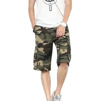 Wholesale Combat Shorts Trousers - Wholesale-Men's Casual Outdoor Pockets Army Camouflage Combat Sports Short Pants Trousers Rugged Relaxed Male Beach Cargo Shorts 01S0023