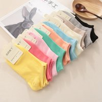 Wholesale Thin Cotton Slippers - Wholesale-2016 New Arrival Women Cotton Socks Female solid color candy invisible socks summer thin sweet casual slipper socks 1lot=6 pair