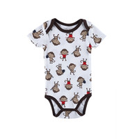 Wholesale Cheap Boys Winter Clothes - Cheap Baby Boy Girl Clothes Monkey Patternd Summer Baby 100% Cotton Tracksuit O-neck Newborn Baby Gift 0-12 Months Popular Style