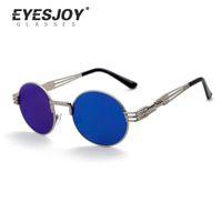 Wholesale steam punk goggles glasses - Steampunk Round Sunglasses Women steam punk men female brand Metal Frames Mirror Lenses Sun Glasses women Male oculos de sol EJ3128SG