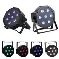 dmx 512 uzaktan toptan satış-LED Sahne Lambaları 7x10 Watt DMX512 RGBW Disko LED Işık - Uzaktan Kumanda - Yukarı Aydınlatma - Sahne Lambası kulüp ışıkları hareketli