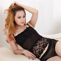 Wholesale Diamond Bandeau - Wholesale-Sexy Women Lace Bandeau Camisole Black White Diamond Tube Top Underwear Lingerie SHM