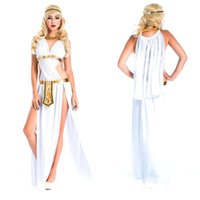 Wholesale Greek Goddess Costumes For Women - New Arrival Hot Seller Girl Greek goddess Queen Cosplay Costume white Egyptian princess Fancy dress for Halloween W8828
