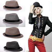 Wholesale Gangster Tie - New Fashion Hats for Women Fedora Trilby Gangster Cap Summer Beach headwear Sun Linen Panama Hat