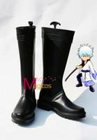Wholesale Gintoki Cosplay Costume - Wholesale-Customized Size GINTAMA Sakata Gintoki Cosplay Party Shoes Black Boots
