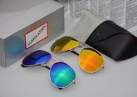 espejos de cuero al por mayor-Flash Mirror Gafas de sol Gafas de sol de verano con polarización Hombres Mujeres Protecciones contra rayos UV Diseñador Gafas de sol auténticas con fundas de cuero
