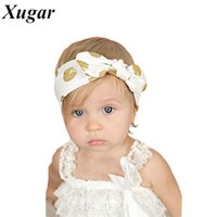 Оптово-Золото Polka Dots Baby Headband DIY Knotted Bow Baby Head Wraps Jersey Kids Turban Hair Accessories