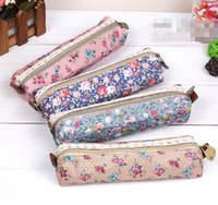 Wholesale Pencil Case Fabric Floral - Wholesale- New fashion Flower Floral Lace fabric Pencil bag pen case