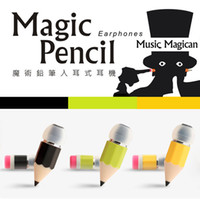 Wholesale Hot Cartoon Mp3 - Hot Stereo Magic Pencil shape Earphone,Earbud Cartoon Pencil Music Headset with Mic MP3 for Mobile phones with retail package promotion gift