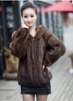 Wholesale Knitted Mink Coat Hood - Winter Fur Coat Jacket for Women Genuine Real Knitted Mink Fur Vintage Outerwear Coats with Hood Size L to 6XL Plus Size hoodies