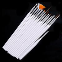 tırnağara sanat fırçaları araçları nokta toptan satış-15 adet / takım Nail Art Fırça Seti Boyama Süsleyen Tasarım Beyaz / Pembe Kalem lehçe Fırça Seti Kiti Akrilik Tırnak Sanat Tasarım Boyama Aracı Kalem Ücretsiz DHL