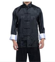 Wholesale New Kung Fu - Wholesale Free Shipping New Best Chinese men's Dress silk kung fu suit pajamas SZ: M L XL 2XL 3XL Hot Selling