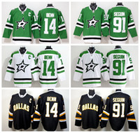 Wholesale Wine Color Embroidery - Newest Dallas Stars 14 Jamie Benn Jersey Green White Black Color 91 Tyler Seguin Ice Hockey Jerseys Fashion Embroidery And Sewing Logo