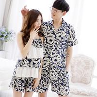 Wholesale Short Sleeved Pyjamas - Wholesale- 2017 Pyjamas Women Cotton Striped Ladies Summer Pajamas Couples Short-sleeved Home Suit High Quality Pajama Sets Women