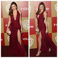Wholesale Zuhair Murad Burgundy Chiffon Gown - Zuhair Murad Burgundy Celebrity Prom Dresses 2016 Sexy Split Side Evening Party Gowns Deep V Neck Pleats Chiffon Dress
