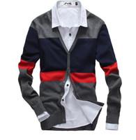 Wholesale Cardigans Sweaters For Men - Wholesale- Men's sweaters cardigan Long-sleeved sweater V neck Flat knitwear for man Casual stripe pull Best Sellers male sweater