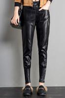 Wholesale Harem Pants For Womens - Faux Leather Harem Pants for Womens Black Soild with Fleece Line Elastic Waist Casual PU Pants Elastic Cuffs with Zipper Design