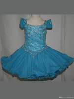 Wholesale Cupcake Style Pageant Dresses Girls - Princess Style Ritzee Girls Spaghetti Strap Beaded Organza Formal Pageant Dress Little Girls Gown Cupcake Dress Mini Length Gown