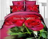 Wholesale Comforter Wedding Twill - 3d flower red rose print bedding set girls wedding bed linen cotton fabric reversible pattern full queen comforter duvet cover