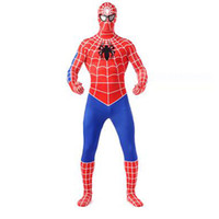 Wholesale sexy spiderman lycra costume xl - Halloween Spiderman Sexy Zentai Suit Lycra Spandex Super Hero Full Bodysuit