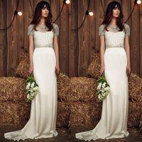 UK wedding dress line sheath - 2017 Jenny Packham Sheath Chiffon Wedding Dresses Luxury Beaded Crystal Line Sheer Neck Short Sleeve Long Bridal Gowns Custom Made EN9052