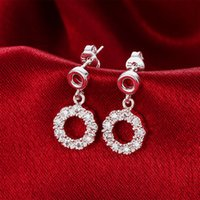 Wholesale Copper Flakes - Unique Circles dangle snow flakes earrings 925 sterling solid silver e811 Fashion 2015 New Jewelry accessary
