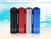 led-taschenlampen großhandel-Tragbare UV Lampen 9 LED Mini LED Taschenlampen Super helle LED Taschenlampe Outdoor Camping Taschenlampen Schwarz