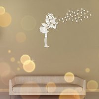 Creative Angel Fairy Home Fashion 3D Wall Sticker Mirror senza inquinamento Living Room Sofa TV Sfondo Decorazione - Argento
