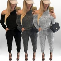 Barato Algodão Solta Ioga Roupas-New Style Moda Mulheres Tracksuits Long Sleeve Cotton Mulheres Baratos Jumpsuits Loose Casual Women Sport Vestuário 2016 Hot Sale Tracksuits
