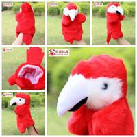 peluş papağanlar toptan satış-10 adet / grup Yeni 27 cm El kuklaları Papağan peluş bebek modelleme düğün bebekler çocuk Eğitici Oyuncaklar Noel hediyesi