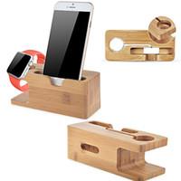 holzständerhalter großhandel-Vogue Sicherheit Ladehalter Ständer Bambus Holz Basis Halterung Docking Halterung für Apple Watch iPhone 6 / 6Plus / 6s / 6s Plus