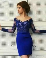 Wholesale Sexy Lace Bow Bodycon Dress - 2016 Arabic Cocktail Dresses V Neck Royal Blue Illusion Long Sleeves Short Mini Bodycon Formal Evening Wear Prom Party Homecoming Gowns