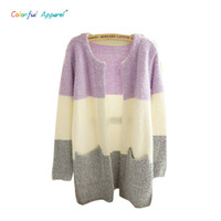 Wholesale Plaid Mohair - Wholesale-Colorful Apparel New Winter Spring Cardigans 2015 Women Fashion Mohair Cardigans Casual Long Cardigan Women Sweaters CA112A