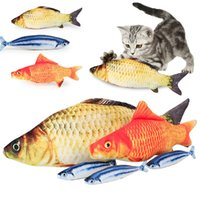 Wholesale fish plush toy - Simulation Plush Cat Fish Toys Funny Fish Cat Pillow Plush Toy Cat Fish Cotton Pet Toy IC744