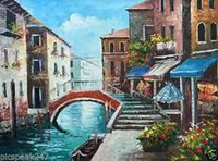 Wholesale City Single - Framed Italian beautiful city of venice new venic City VIEWS,Pure Hand Painted abstract Art Oil Painting On Canvas.Multi Sizes Available