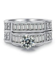 DONNA LAD DIAMOND ENGAGEMENT ANELLO FEDE BAND BRIDAL SET ROUND CUT 1.50 CT
