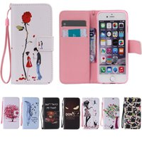 Wholesale Stand Wallet Iphone Colorful - Wallet Case For iPhone 6 6s 6plus 6sPlus 5s se 5 Art Print Pattern Leather Flip Stand Wallet Colorful Cover with Card Solts