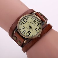 Wholesale Watch Wide - 2016 Popular Ladies Rivet Punk Chain Belt Bracelet Watch Hot Retro Wide Leather Watch Quartz Women Watch Men Watch