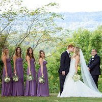 Wholesale Eveninig Dresses - 2016 Cheap Purple Floor Length Chiffon Prom Bridesmaid Dress Sweetheart Eveninig Vestidos Largos De Wedding Party Dress