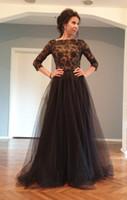schwarzes rhinestone formales langes kleid großhandel-Black Lace vestidos de Tule Promkleider 3/4 Ärmel Bateau-Ausschnitt lange formales Abendkleid Hülse Strass Perle
