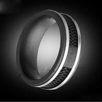 ingrosso grandi gioielli in acciaio inox-Anelli di colore nero di modo, monili di grandi dimensioni dell'acciaio inossidabile di titanio delle donne / Mens --- Formato 5 - 12