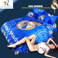 Wholesale White Twin Sheets - Wholesale- Romanee classic european soccer football bed sheet queen full twin size 3 4pcs bedding set duvet cover pillow cases bedclothes