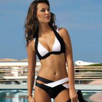mejores trajes de talla grande al por mayor-Más el tamaño Sexy Patchwork Bikini Mujer Traje de baño Vendaje Traje de baño El mejor traje de baño suave Traje de baño Blanco y negro de alta calidad