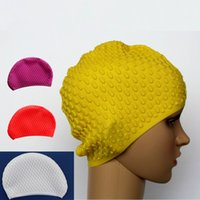 Wholesale Silicone Hair Piece - Water Drop Swimming Cap Lady Long Hair Big Size Silicone Swim Caps for Wome20 Pieces DHL Free Shipping